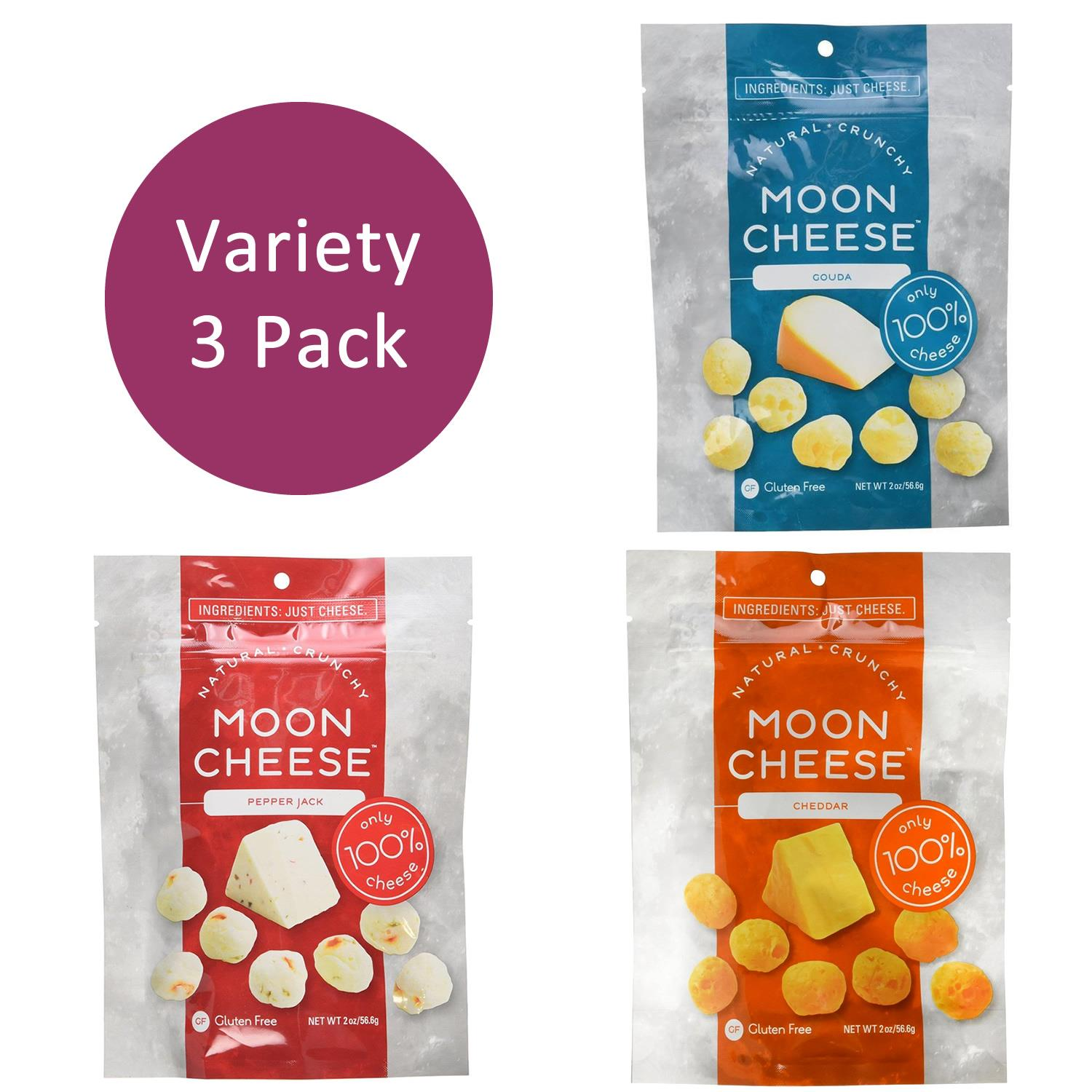 Moon Cheese Variety Snack 3PK Cheddar Gouda Pepper Jack Gluten-Free Natural Protein Calcium Food 005000050100502