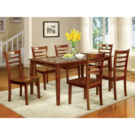 Furniture of America Clem Transitional 7-Piece Dining Set, Antique Oak