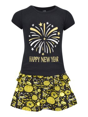 Girls Happy New Year 2 Piece Skirt Set Outfit (4t)