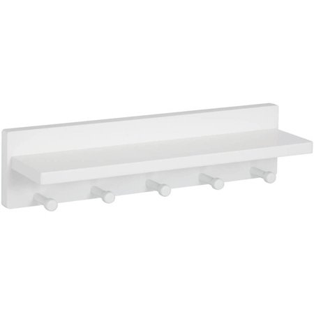 Honey Can Do Wooden Wall Shelf with 5 Pegs and Upper Shelf, White ()
