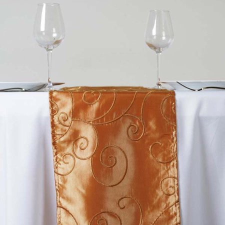 Gold Embroidered Fabric Table Runner (Efavormart Bienvenue Fancy Swirls Table Runners Taffeta w/ Embroider For Weddings Birthday Parties Fit Rectangle and Round Table)