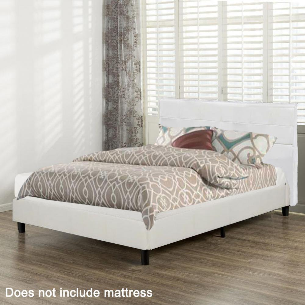 Platform Bed Frame Upholstered White Leather Slats Headboard Bedroom Queen