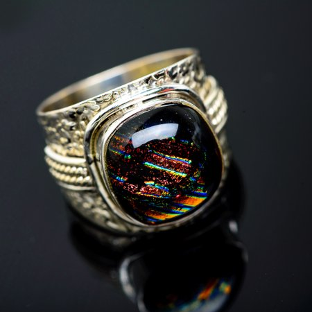 Dichroic Glass Ring Size 8.75 (925 Sterling Silver)  - Handmade Boho Vintage Jewelry RING951103 - Handmade Dichroic Glass