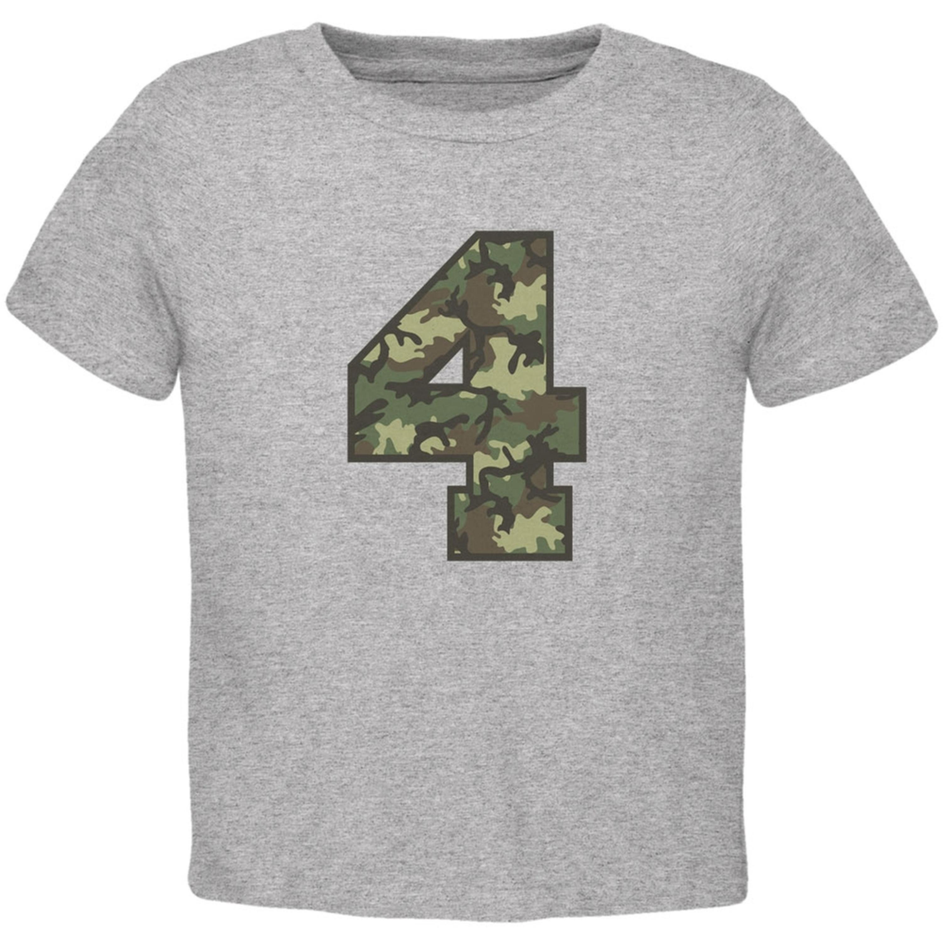 Birthday Kid Camo 4 4th Fourth Heather Toddler T-Shirt