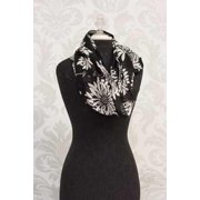 Scarf-Infinity-Delight Yourself In The Lord-Black & White Floral (20 x 71)