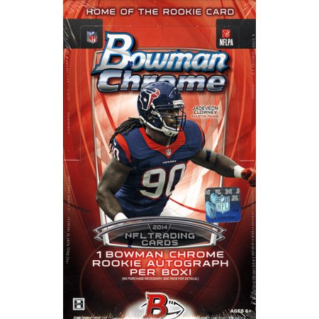2014 Bowman Chrome Football Hobby Box (18 packs of 4 cards: 1 Autograph, 1 Top Shelf Rookie, 1 Franchise Futures Die-Cut Mini, 2 Bowman's Best Die Cuts, 1 Pulsar Refractor, - Chrome Football Cards Hobby Box