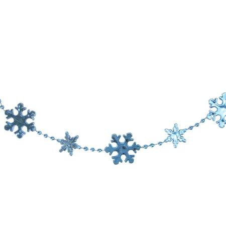Northlight  8' Shiny Metallic Blue Snowflake Beaded Artificial Christmas - Beaded Snowflakes