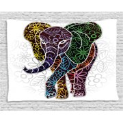 Batik Decor Tapestry, Digital Big Elephant Figure with Floral Lines and Tribal Shapes Wild Life Image, Wall Hanging for Bedroom Living Room Dorm Decor, 80W X 60L Inches, Multi, by Ambesonne
