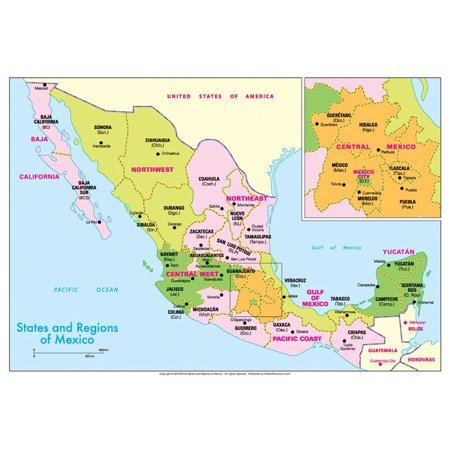 Michelin Official States and Regions of Mexico Map Art Print Poster
