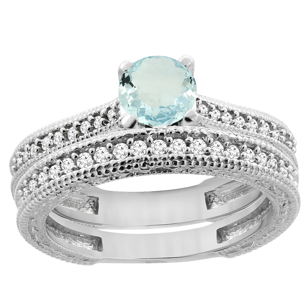 14K White Gold Natural Aquamarine Round 5mm Engraved Engagement Ring 2-piece Set Diamond Accents, size 5.5 by Gabriella Gold
