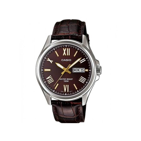 Men Analog Leather Strap Mineral Glass Water Resistant Watch MTP1377L-5A