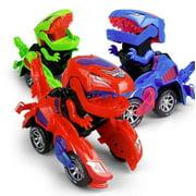 Dinosaur Transformer Cars Light Up Transforming T-Rex Bots Toys LED Robots - Color May Vary