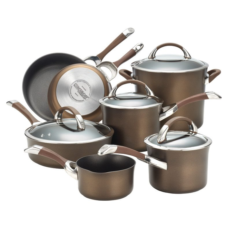 Circulon 11-Piece Symmetry Chocolate Hard Anodized Nonstick Cookware Set