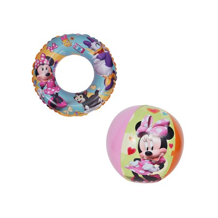 Girls Minnie Mouse & Daisy Inflatable Swim Ring & Beach Ball 2-PACK
