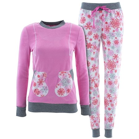 love loungewear juniors pink snow flake mitten christmas pajamas