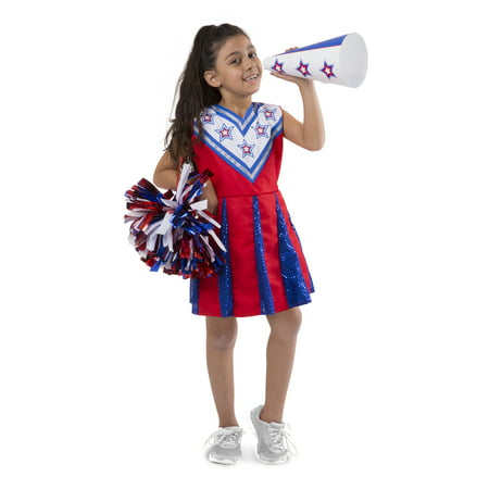 Melissa & Doug Cheerleader Role Play Costume Dress-Up Set With Realistic Accessories - Panthers Cheerleader Costume