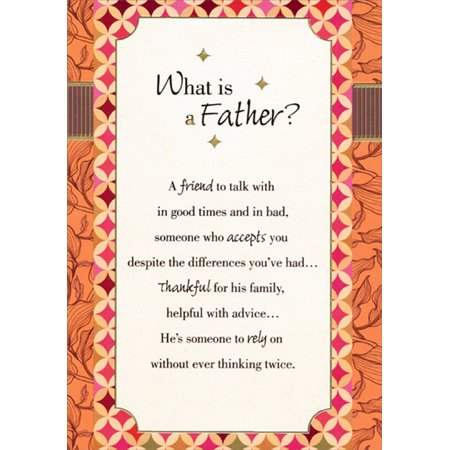Designer Greetings What is a Father? Orange Border Father's Day Card - Fathers Day Card Print Out