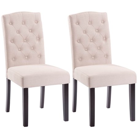 Costway Set of 2 Linen Fabric Wood Accent Dining Chair Tufted Modern Living Room Beige