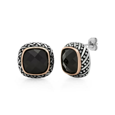 Women's Stainless Steel Black Glass Stud -