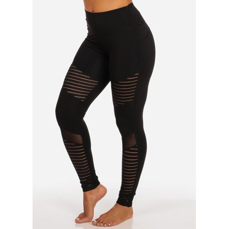 Womens Juniors Activewear Sheer Mesh Partial See Through High Rise Black Leggings W Back Waist line Pocket