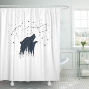 ATABIE Badge White Bear and Constellations Authentic Camping Double Shower Curtain 60x72 inch