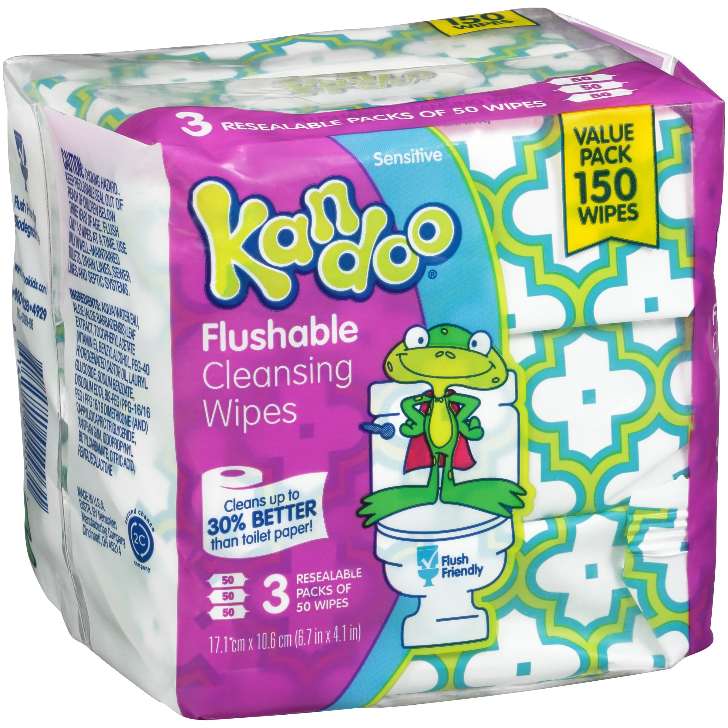 Kandoo Sensitive Flushable Baby Wipes, 3 packs of 50 (150 count)