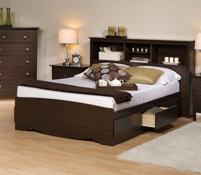 Bookcase Headboard Bed Size King, King Storage Bed Frame With Headboard