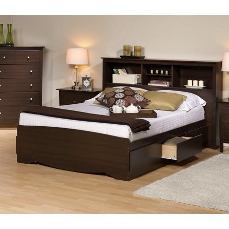 Platform Storage Bed W Bookcase Headboard Bed Size King Color Espresso
