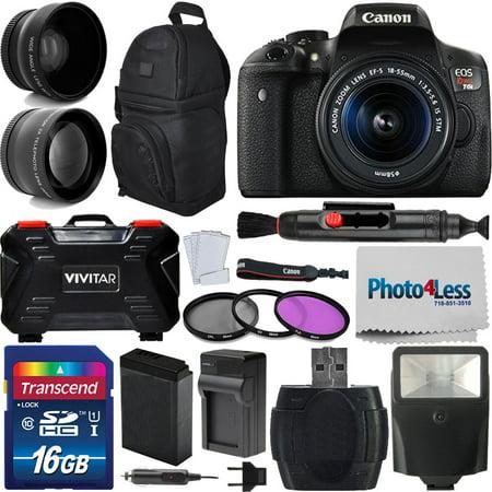 Canon EOS Rebel T6i DSLR Camera + 18-55mm STM Lens + Accessory (Best Canon T6i Accessories)