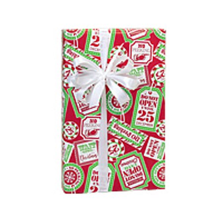 Red and White Do Not Open No Peeking Holiday /Christmas Gift Wrapping Paper - Red Brick Wrapping Paper