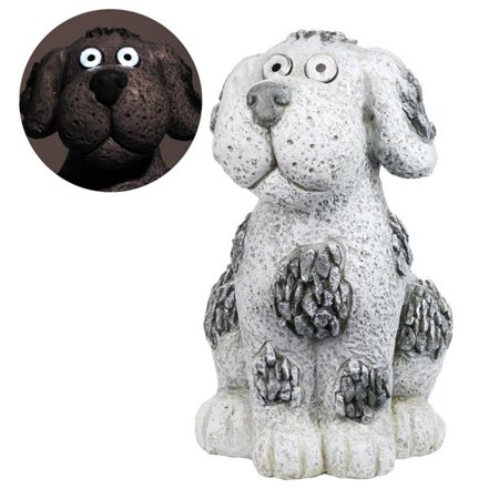 Alpine Solar Pebble Dog Garden Statue w/White LED Light and On/Off Button, 14 Inch Tall