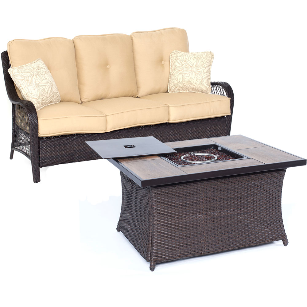 Hanover Orleans 2-Piece Woven Fire Pit Set with Glazed Faux-Wood Tile Top