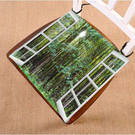 PHFZK Landscape Nature Scenery Chair Pad, Beautiful Sunrise Green Forest View from the Window Seat Cushion Chair Cushion Floor Cushion Two Sides Size 16x16 inches ()