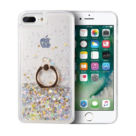 Apple iPhone 7 Plus /8 Plus /6S Plus /6 Plus Phone Case Hybrid Glitter Bling Sparkling Liquid Quicksand Sparkle TPU Rubber Hard PC Back + Ring Holder Kickstand Cover BLACK for iPhone 8/7/6/6s PLUS