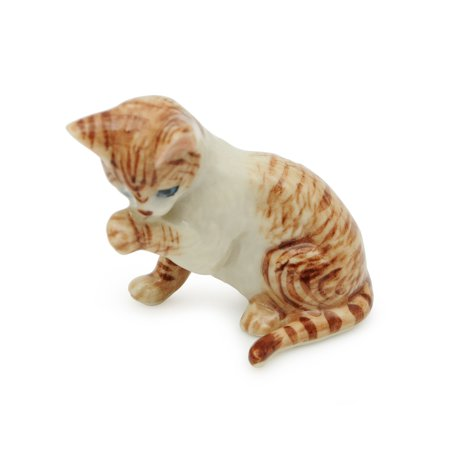 Handmade Miniatures Ceramic Arabian Mau Cat Figurine Animals Decor Collection Miniature Cat Figurine