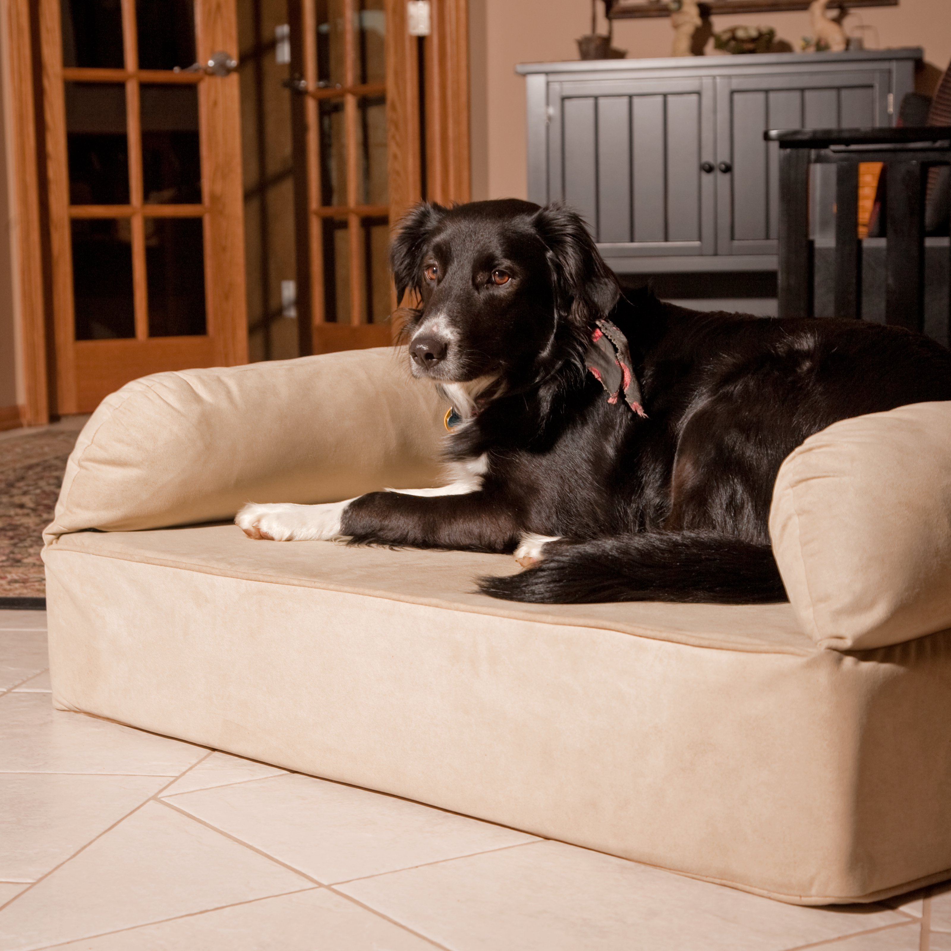 Snoozer Pet Dog Cat Puppy Indoor Comfortable Soft Quilted Luxury Regular Foam Sofa Sleeping Bed Large Peat