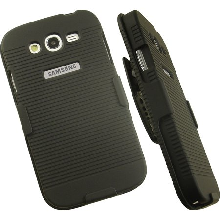 GALAXY GRAND DUOS/NEO CASE CLIP, NAKEDCELLPHONE'S BLACK RIBBED RUBBERIZED HARD SHELL CASE COVER + BELT CLIP HOLSTER STAND FOR SAMSUNG GALAXY GRAND, GRAND DUOS, GRAND NEO (i9080, i9082, i9060, i9060C)