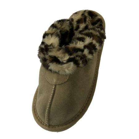 d5c3da9dea96 Target - Girls Tan Suede Scuff Slippers House Shoes With Faux Fur Leopard  Trim - Walmart.com