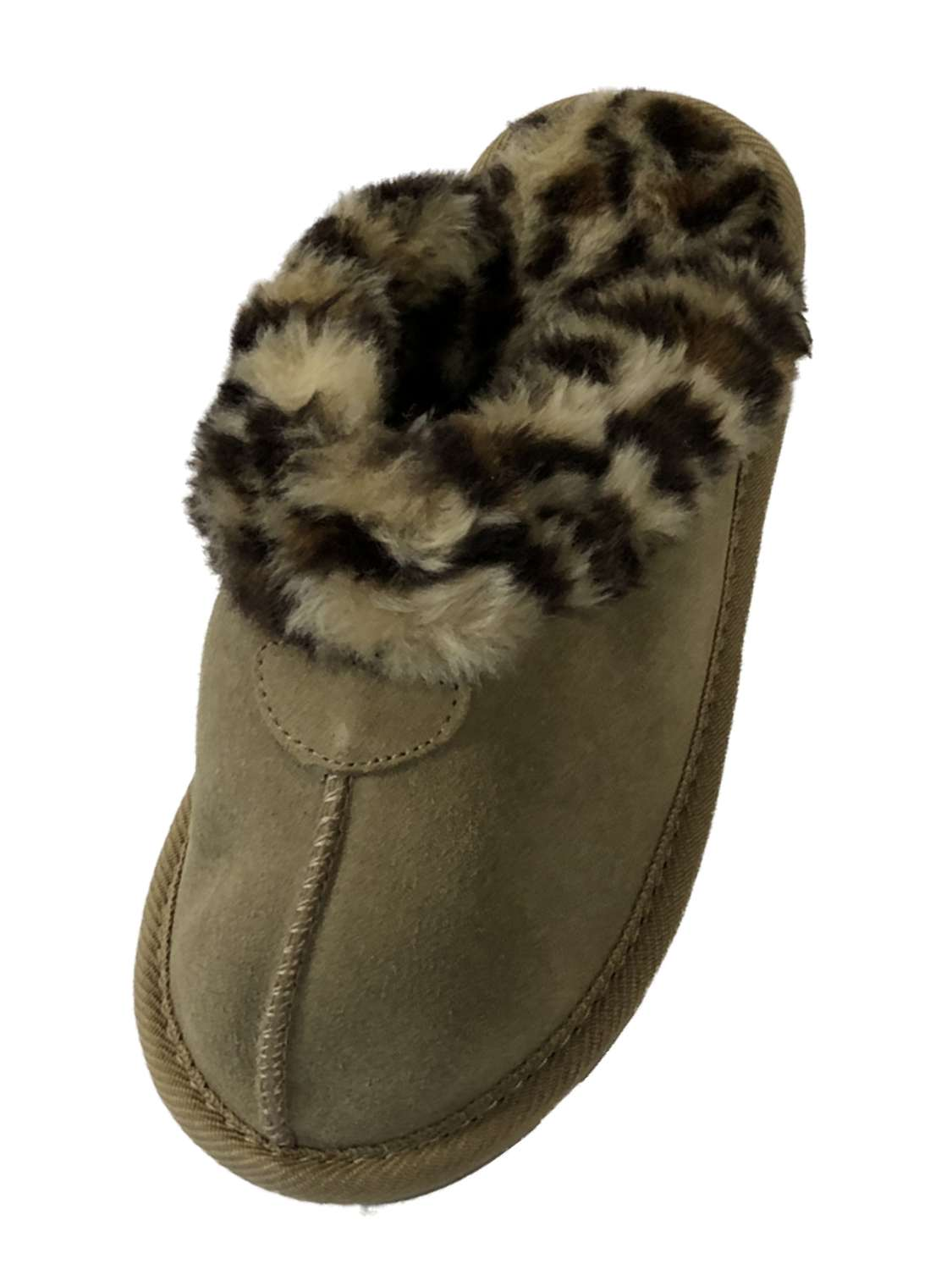 Girls Tan Suede Scuff Slippers House Shoes With Faux Fur Leopard Trim