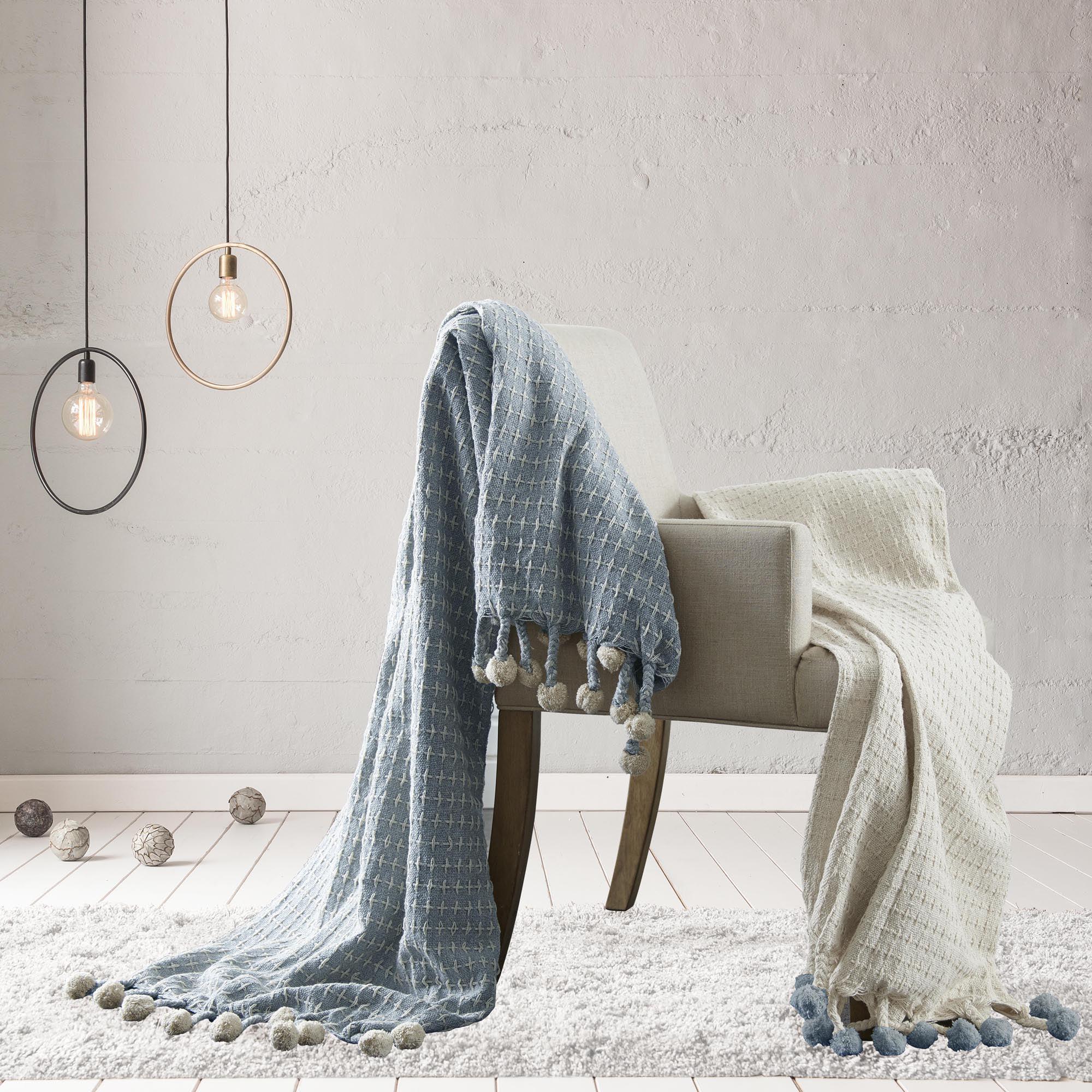 Pacific Coast Textiles Diamond Maze Throw Blanket with Pom Pom Ends, 2 Pack