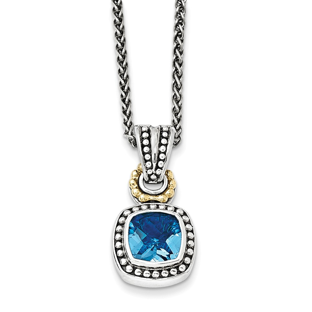 """14K Gold and 925 Sterling Silver with Antiqued Blue Simulated Topaz Necklace -18"""" (18in x 2mm) by"""