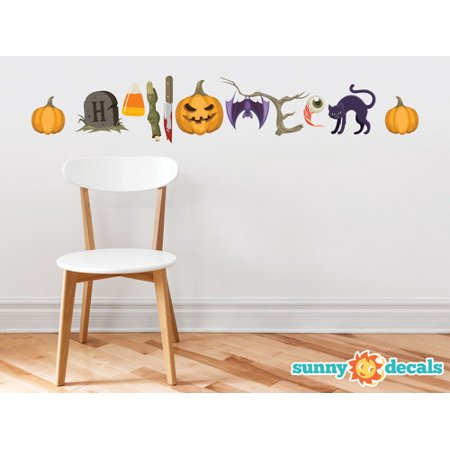 Halloween Words Fabric Wall Decals - Halloween Spelled out with Spooky Characters for $<!---->