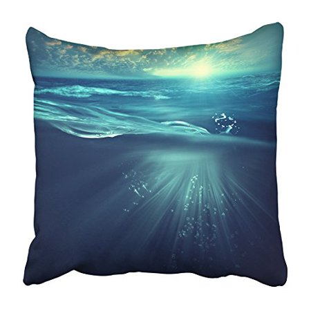 BSDHOME Blue Nature Deep Ocean Marine with Waves and Sea Below Under Underwater Water Pillowcase Cushion Cover 18x18 inch - image 1 de 1