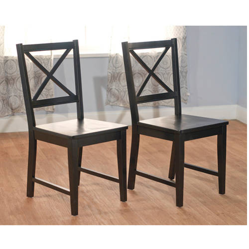 Virginia Cross-Back Chair, Set of 2, Black