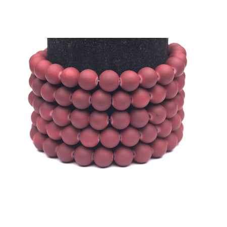 Maroon Bread Plate (Frosted Glass Beads Maroon Rubber-Tone Beads 8mm Round Sold Per Pkg of 3x32Inch (336 Beads) )