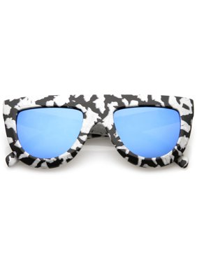 Product Image Oversize Chunky Matte Marble Print Wide Arms Flat Lens Flat  Top Sunglasses 51mm (Marble   e5cbd819a615