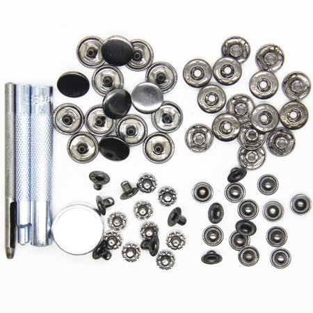 15mm 15pcs a Set of Metal Snap Button with Fastener Installation Tool for Children and Adult Clothes and (Kidz Snap)