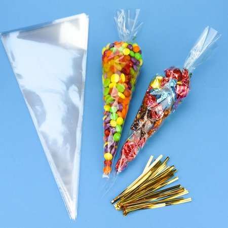 CUH 25/50/100PCS Clear Cellophane Cone Shaped Treat Bags Sealed Triangle OPP for Candy Sweet with Ties
