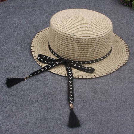 Women Summer Sun Straw Hat Removable Bow Tassel Adjustable Flat Summer Panama Beach Holiday Cap