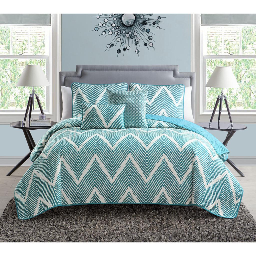 Luxury Home, 5-Piece Mela Quilt Set,Blue - Walmart.com